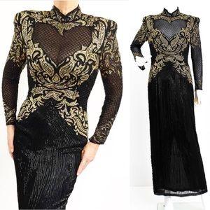 Vintage Sensational Heavily Beaded Silk Gown